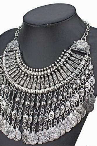 new design bohemian style jewelry fashion vintage alloy metal tassel pendant necklace for women