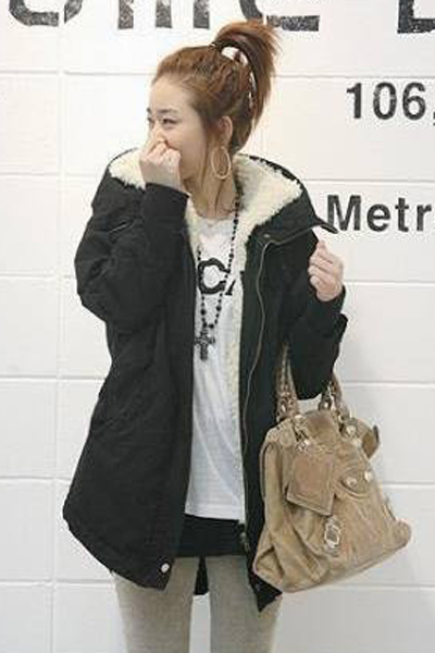 Cheap New Style Long Sleeves Zipper Design Black Long Parka