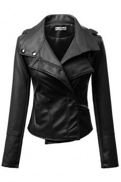 Black Faux Leather Moto Jacket with Zipper Closure