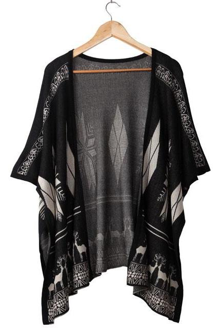 Totem Geometry Loose Slim Knitted Cardigan