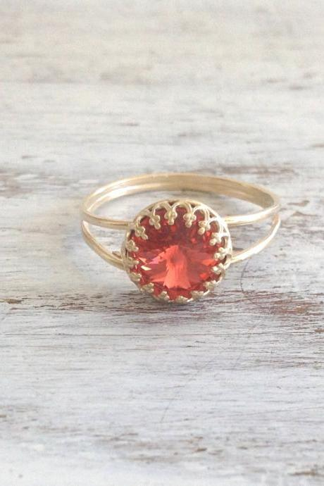 Gold ring, red ring, cocktail ring, stacking ring, vintage style ring, stackble ring, gold rings