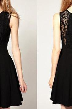 Fashion Lace Sleeveless black Dress for women