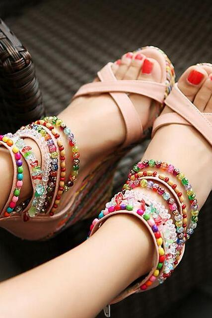 Summer Fashion Sandals Beaded High-heeled Sandals SS05233SH