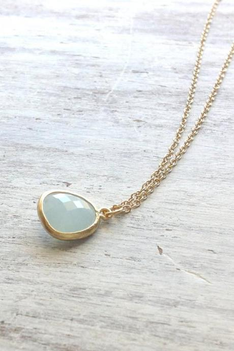 Gold necklace, bridesmades necklace, crystal glass stone, delicate necklace, blue necklace, wedding jewelry -582