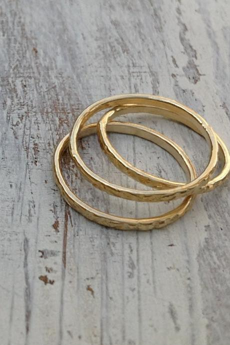 Stacking ring, Gold ring, stacking gold ring, knuckle rings, thin gold ring, hammered ring, tiny ring, gold knuckle rings -522/3