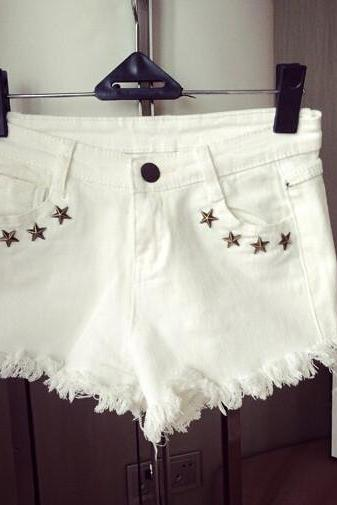 White Distressed Denim Short Pants with Star Studs