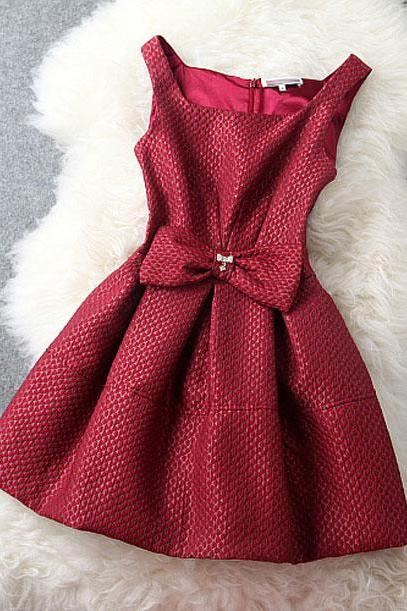 Elegant BowKnot Slim Rhinestone Dress &Party Dress