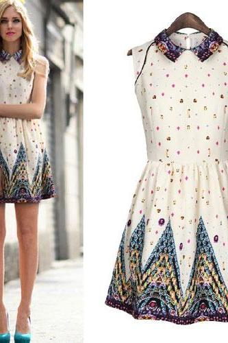 Vintage Colorful Print Slinky Turn Down Collar Tank Dress
