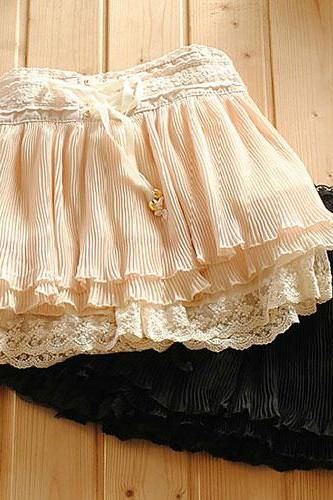 Sweet Girl Crochet Lace Pleated Mini Skirt Skort