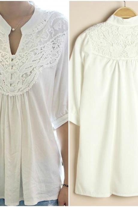 Cute Mandarin Collar White Lace Top