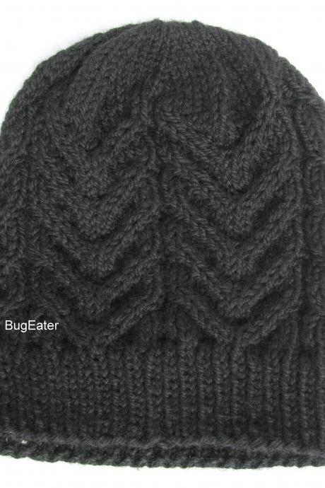 Black wool hat, Cable knit hat, Hand knit wool hat