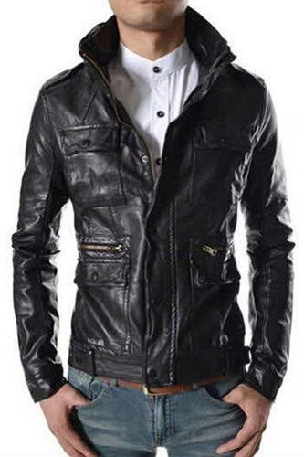 STAND COLLAR LEATHER JACKET, MEN BLACK COLOR LEATHER JACKET, REAL LEATHER JACKET