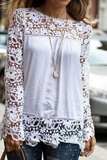 Fashion lace long-sleeved shirt #FD102315