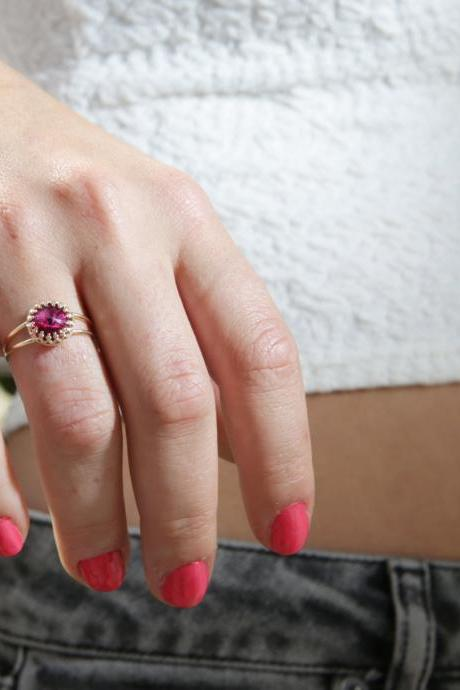 Gold ring,pink ring, stacking ring, valentine's day gift, stackble ring, fuchsia ring, stackble gold ring, pink