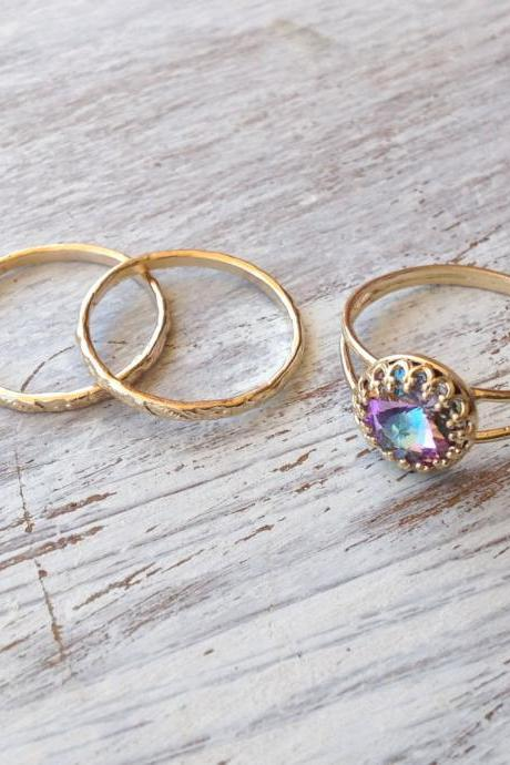 SET OF 3- Gold ring, stacking ring, vintage ring, stackble ring, crystal ring, stackble gold ring, light purple, any size