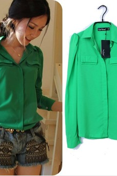 Long Sleeve Blouse Top In Pink Or Green