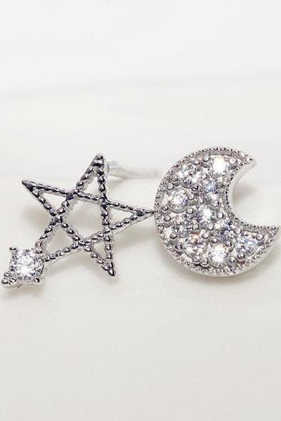 Fashion Cute Moon And Stars Earring