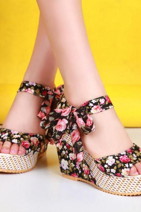 Open-toe Floral Platform Wedges with Bowknot Ankle-strap Details