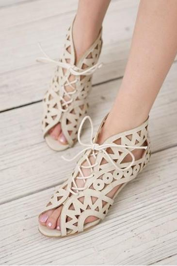 Fashion Lace Hollow Sandals XXA621023