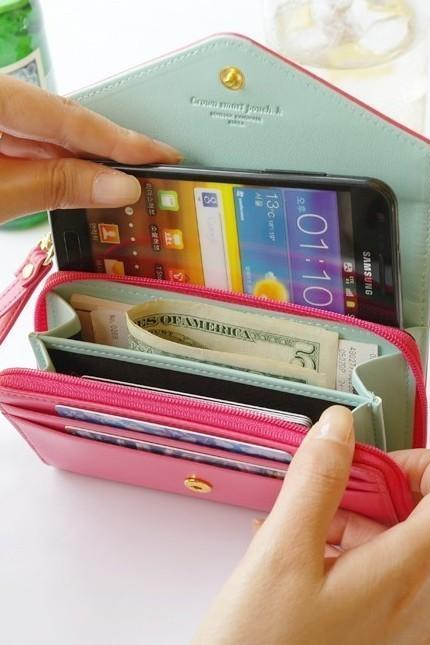Multifunctional Envelope Wallet Purse Phone Case For IPhone 5/4s Galaxy S2/S3
