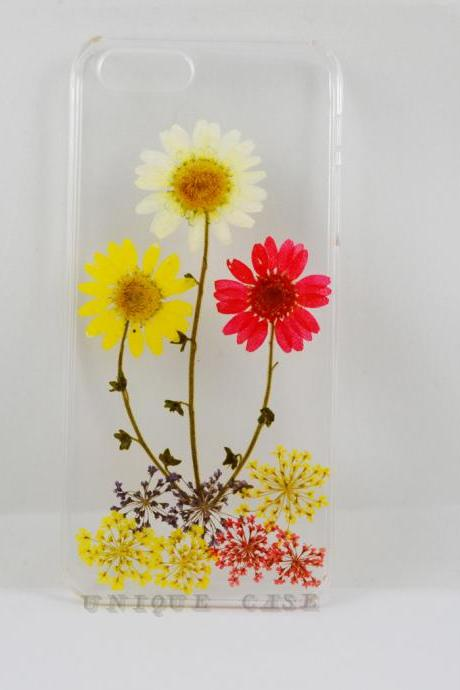 Pressed flower iphone 4s case real flower iphone 5 5s 5c case, yellow white red daisy flower garden iphone 6 case, real flower S2 S3 S4 mini S5 LG G2 M7 z10 case