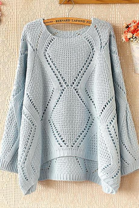 Fashion Blue Hollow Out Pullover Sweater