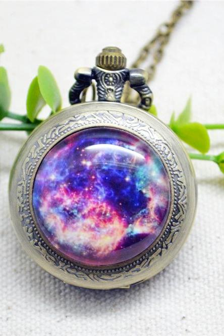 Galaxy Nebula Pocket Watch Necklace