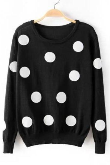 Cute Polka Dots Print Long Sleeves Pullover Round Neck Knitting Sweater - Black GS7O9VL8FD7I6U9SYQTTO