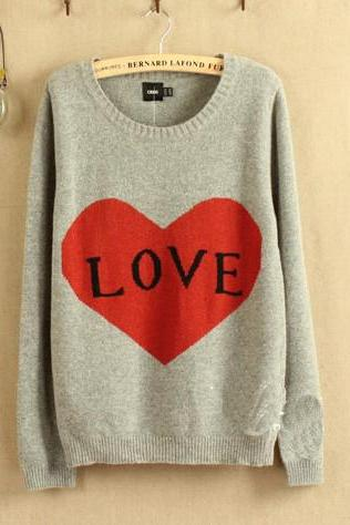 Grey Love Letters Show Thin Backing Pullovers Sweater E6H8QW7XSPYDN5X3K1GLS