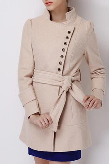 High Quality Vogue Long Sleeve Button Fly Autumn Coat - Apricot OVTM2P7BXRPQZWXNMTMRV