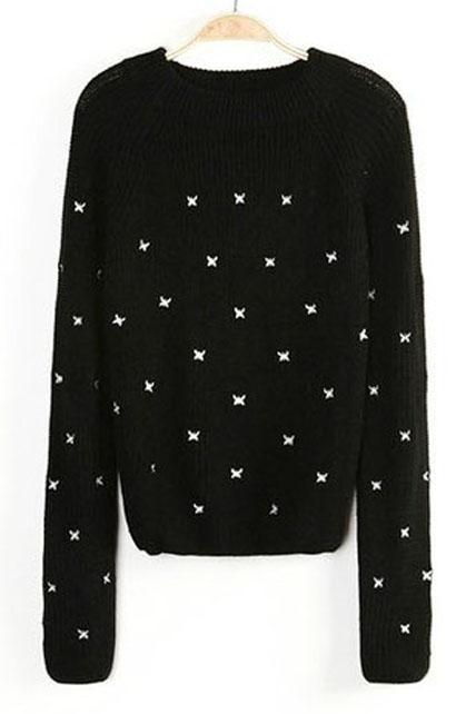 New Arrival Embroidering Butterfly Decoration Pullovers Sweater - Black C3Y5CH5TJXFMFGOWAOMD1