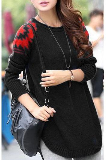 New Style Round Neck Long Sleeve Sweater Pullover - Black 6AINI968P7GCI53P0PV71