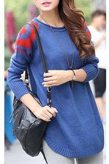 New Style Round Neck Long Sleeve Sweater Pullover - Blue NBXCCDO3K8VRAIWP2CD5S