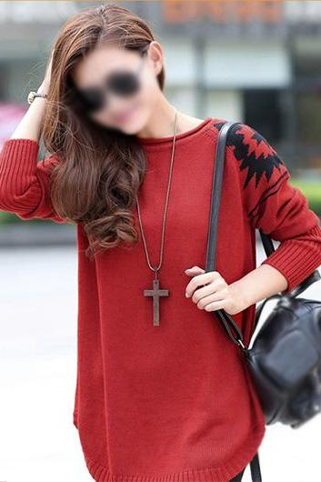 New Style Round Neck Long Sleeve Sweater Pullover - Red PIISMNMNDNCVOGUSH6WJT