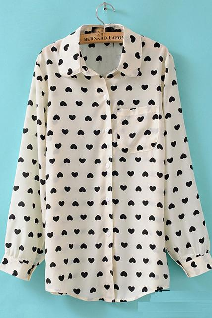 Long Sleeve Chiffon Heart Print Button-Up Shirt with Single Breast Pocket