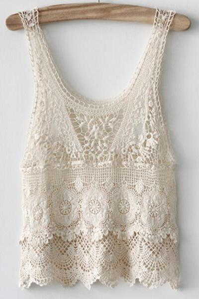 Women's Tiered Floral Crochet Lace Tank Top