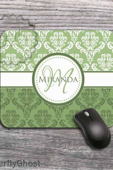 Fresh Green Color Set Computer Mousepad - Name or Monogrammed office mat, personalized desk accessory