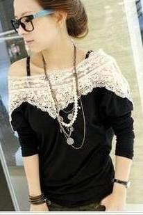 Lace fashion T-shirt ZZ1024F