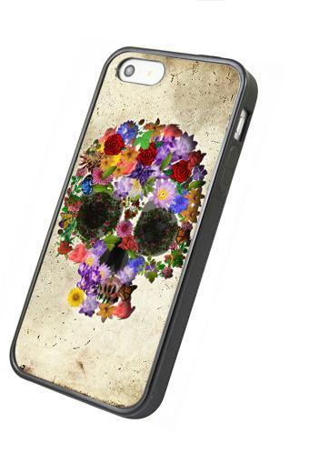 Floral skull - iphone 4 4s case iphone 5 5s 5c case iphone 6 6 plus case ipod touch 4 ipod touch 5 case
