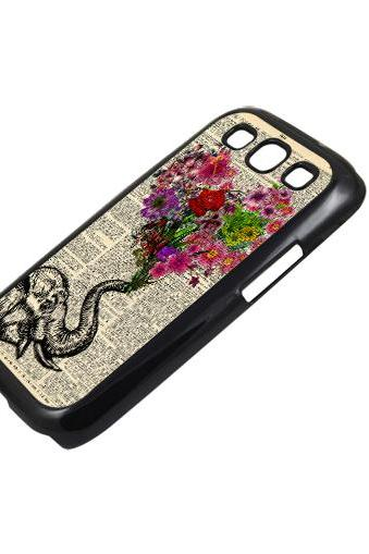 Floral heart Elephant - Sumsung Galaxy S2 i9100 case S3 i9300 S4 mini S5 Note 1 2 3 case
