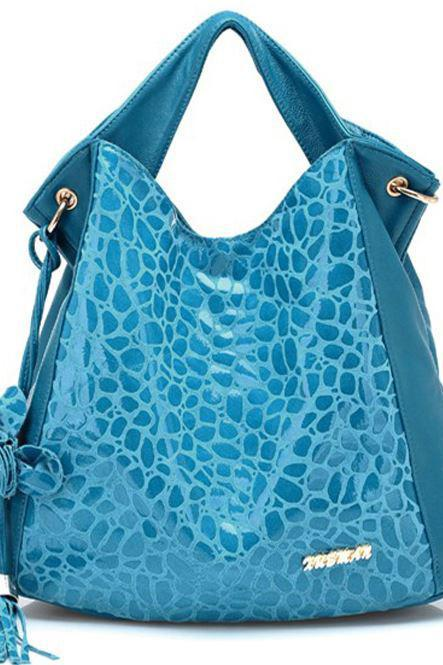 Free Shipping Blue Genuine Leather Bag With Tassel-Blue Leather Bag- Aqua Blue Bag