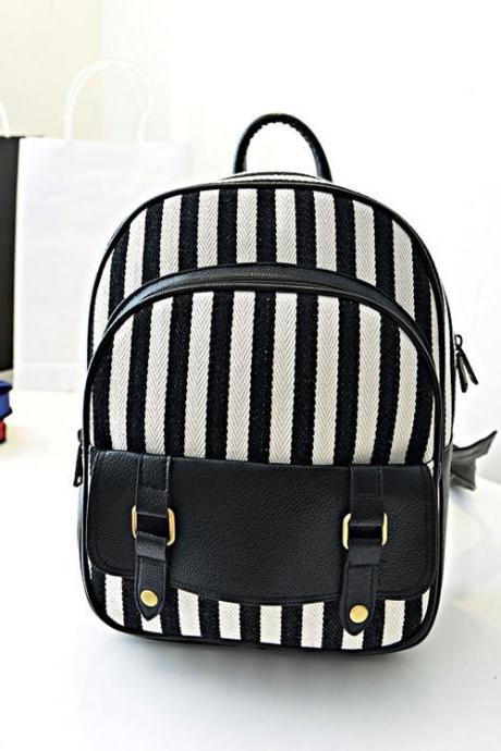Black and White Stripes Casual Canvas Backpack