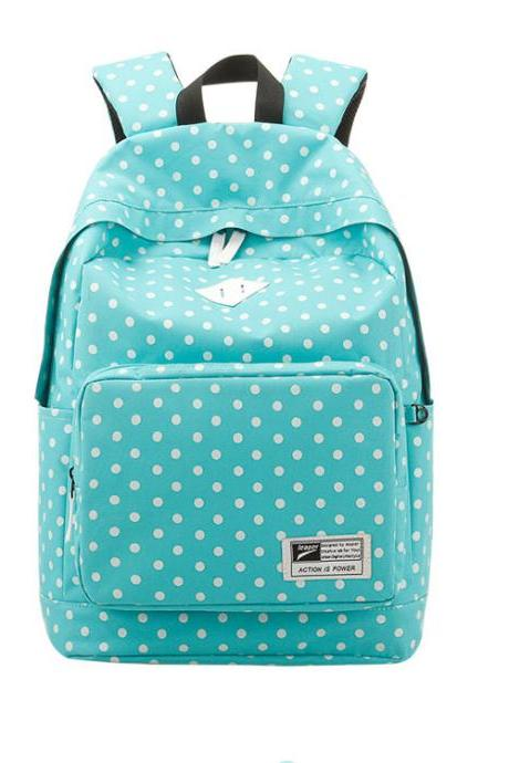 Nice Preppy Style Polka Dot Canvas Backpack