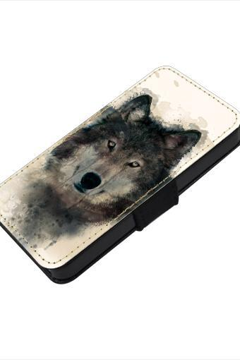 Wolf - canvas PU leatherette flip wallet iphone 4 4s case iphone 5 5s 5c case, S2 i9100 S3 i9300 S4 i9500 S5 case Note 1 2 3 case