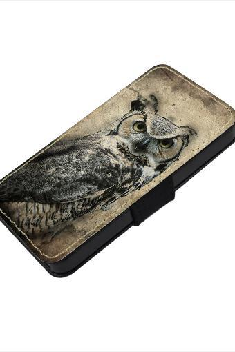 Vintage owl - canvas PU leatherette flip wallet iphone 4 4s case iphone 5 5s 5c case, S2 i9100 S3 i9300 S4 i9500 S5 case Note 1 2 3 case