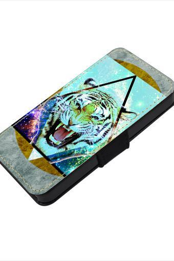 Tiger - canvas PU leatherette flip wallet iphone 4 4s case iphone 5 5s 5c case, S2 i9100 S3 i9300 S4 i9500 S5 case Note 1 2 3 case