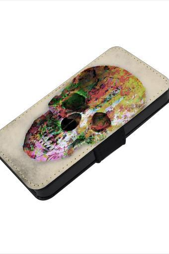 Floral Skull - canvas PU leatherette flip wallet iphone 4 4s case iphone 5 5s 5c case, S2 i9100 S3 i9300 S4 i9500 S5 case Note 1 2 3 case