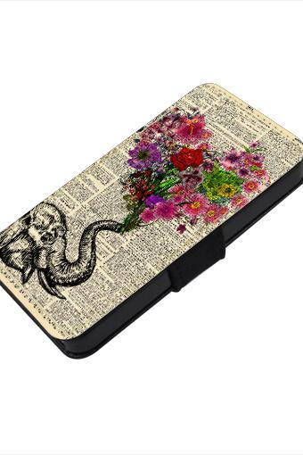 Floral heart Elephant - canvas PU leatherette flip wallet iphone 4 4s case iphone 5 5s 5c case, S2 i9100 S3 i9300 S4 i9500 S5 case Note 1 2 3 case
