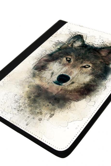 Wolf - canvas PU leatherette flip ipad 2 3 4 case ipad air 5 case ipad mini case
