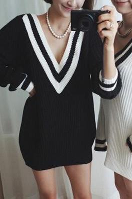 Sexy V-neck knit sweater #DG102411